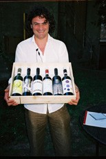 Mario Cristiani with the bottles