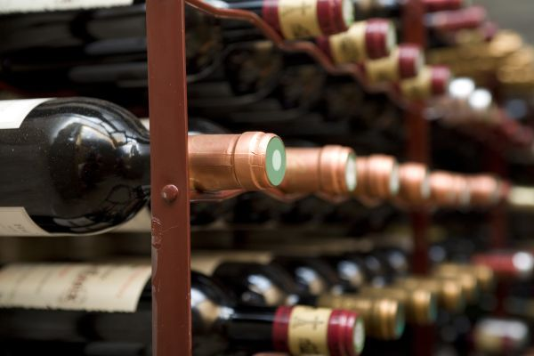 Wine bottles on rack