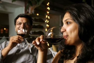 india women drinking wine