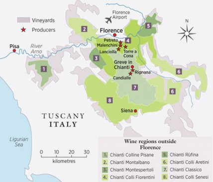 Florence winery map
