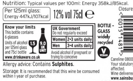 UK retailers split over calories on wine labels