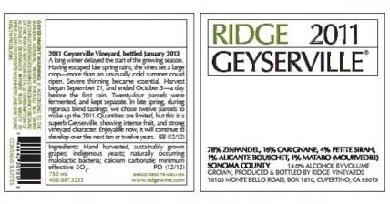 Ridge 2011 Geyserville wine ingredients label